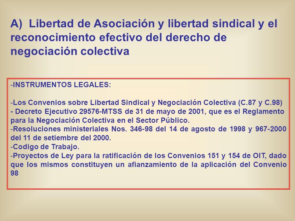A) Libertad de Asociación y libertad sindical y el reconocimiento efectivo del derecho de negociación colectiva