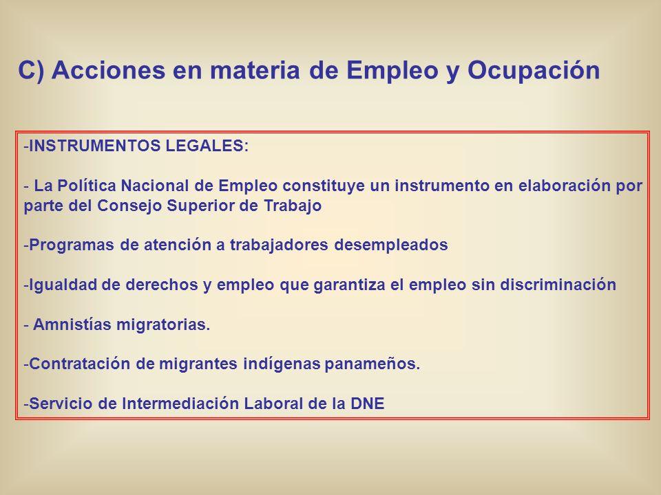 C) Acciones en materia de Empleo y Ocupación