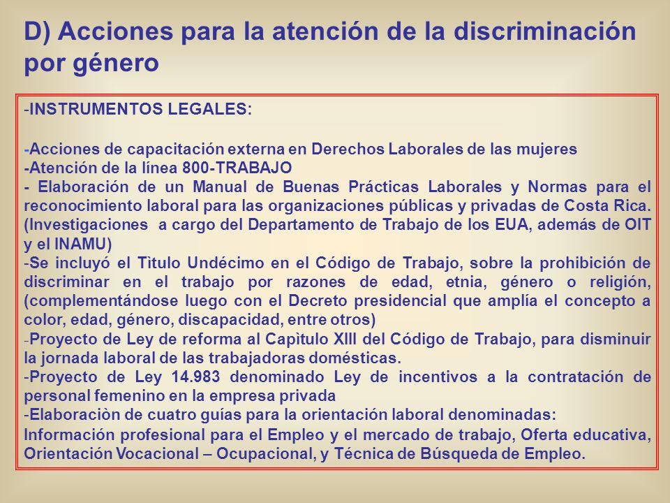 D) Acciones para la atención de la discriminación por género