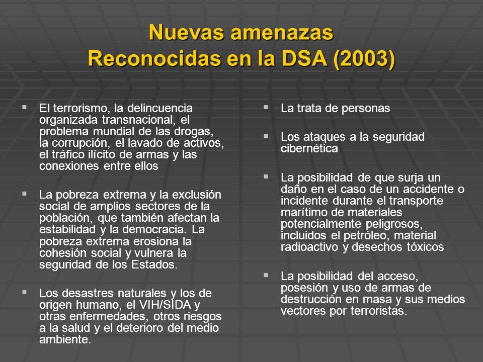 Nuevas amenazas Reconocidas en la DSA (2003)