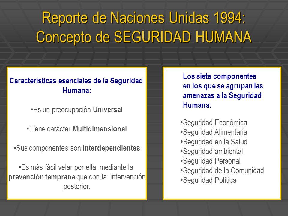 Reporte de Naciones Unidas 1994: Concepto de SEGURIDAD HUMANA