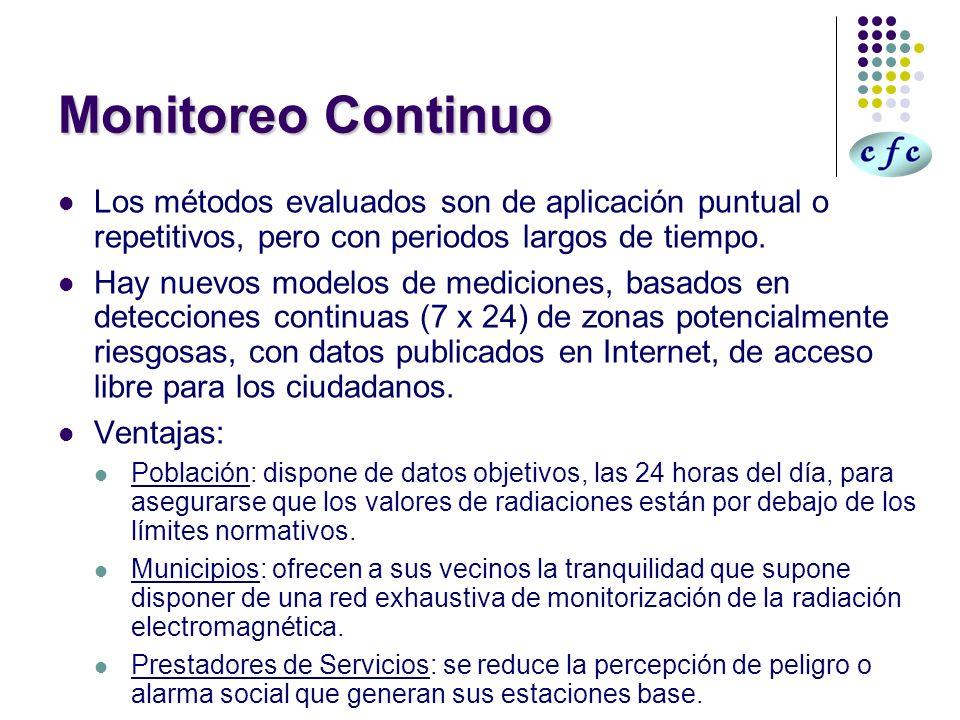 Monitoreo ContinuoLos métodos evaluados son de aplicación puntual o repetitivos, pero con periodos largos de tiempo.