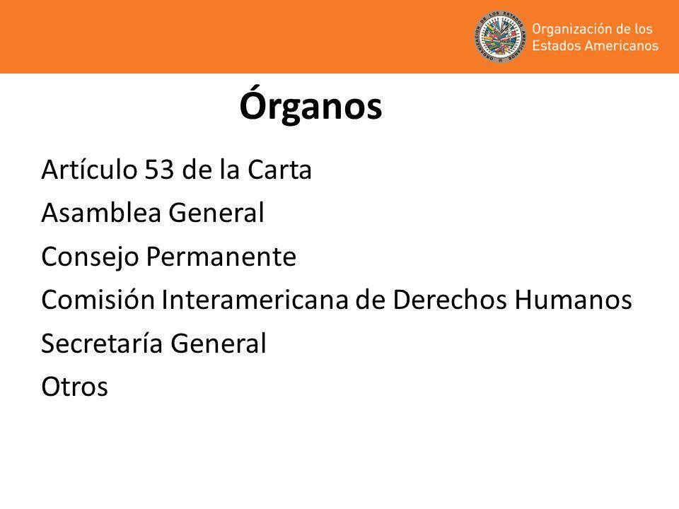 Órganos Artículo 53 de la Carta Asamblea General Consejo Permanente
