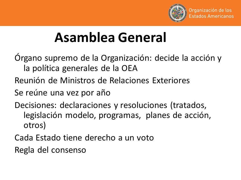 Asamblea General Órgano supremo de la Organización: decide la acción y la política generales de la OEA.