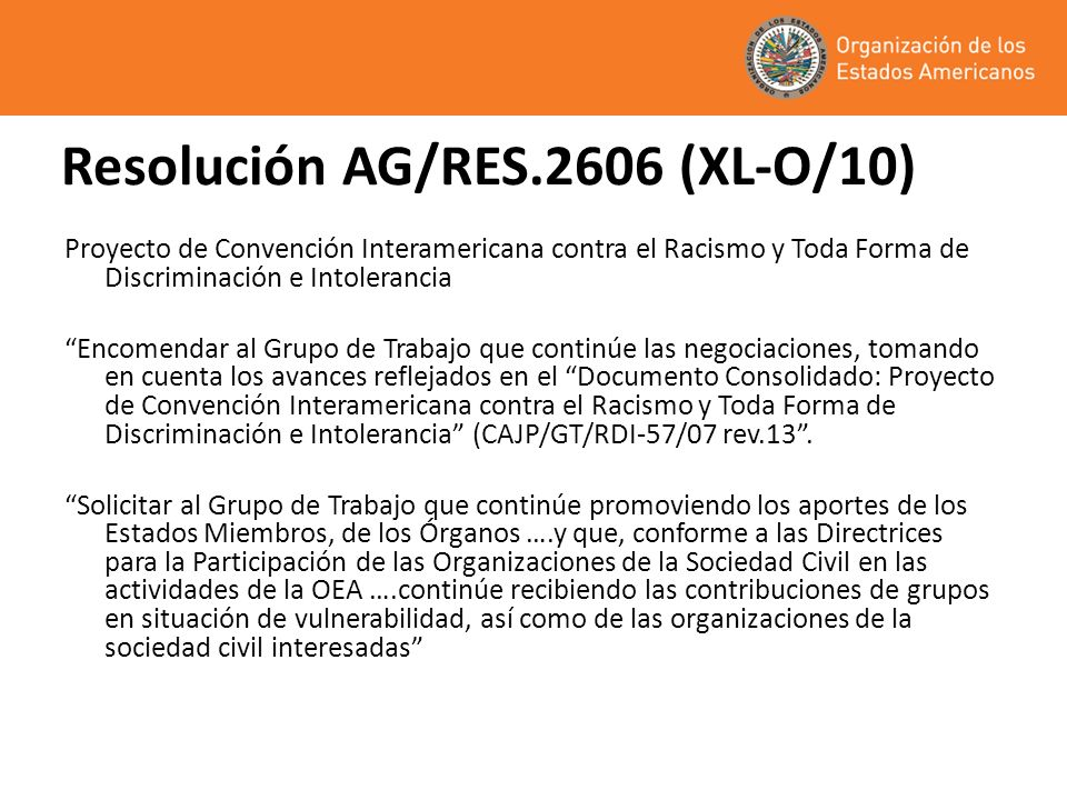 Resolución AG/RES.2606 (XL-O/10)