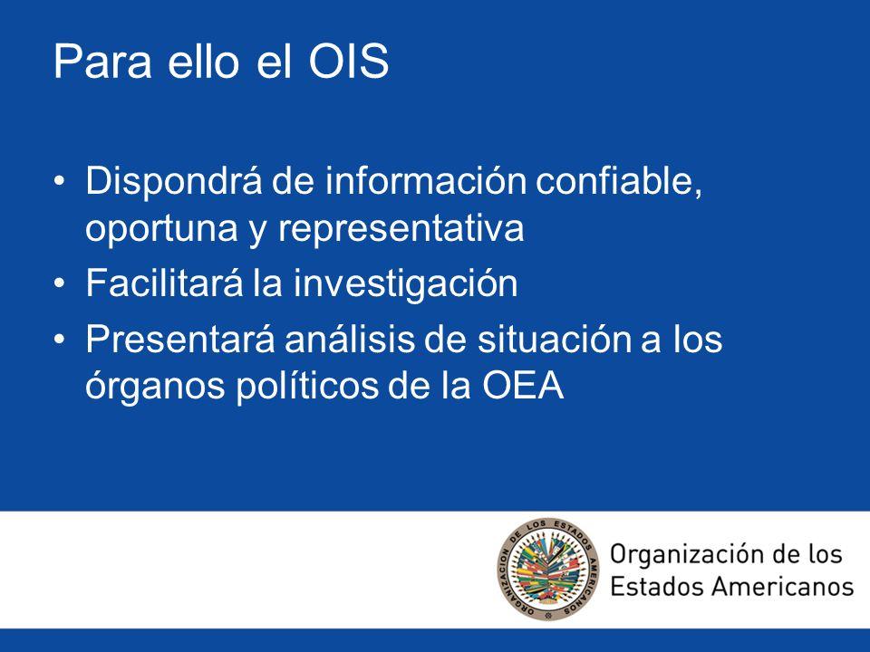 Para ello el OISDispondrá de información confiable, oportuna y representativa. Facilitará la investigación.