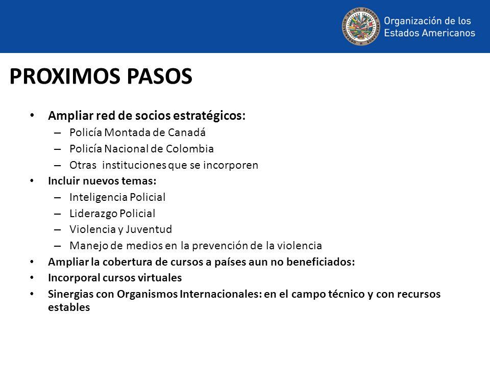 PROXIMOS PASOS Ampliar red de socios estratégicos: