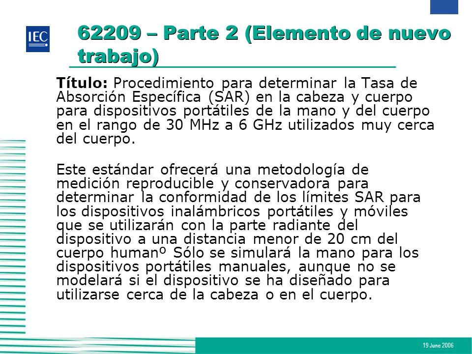 62209 – Parte 2 (Elemento de nuevo trabajo)