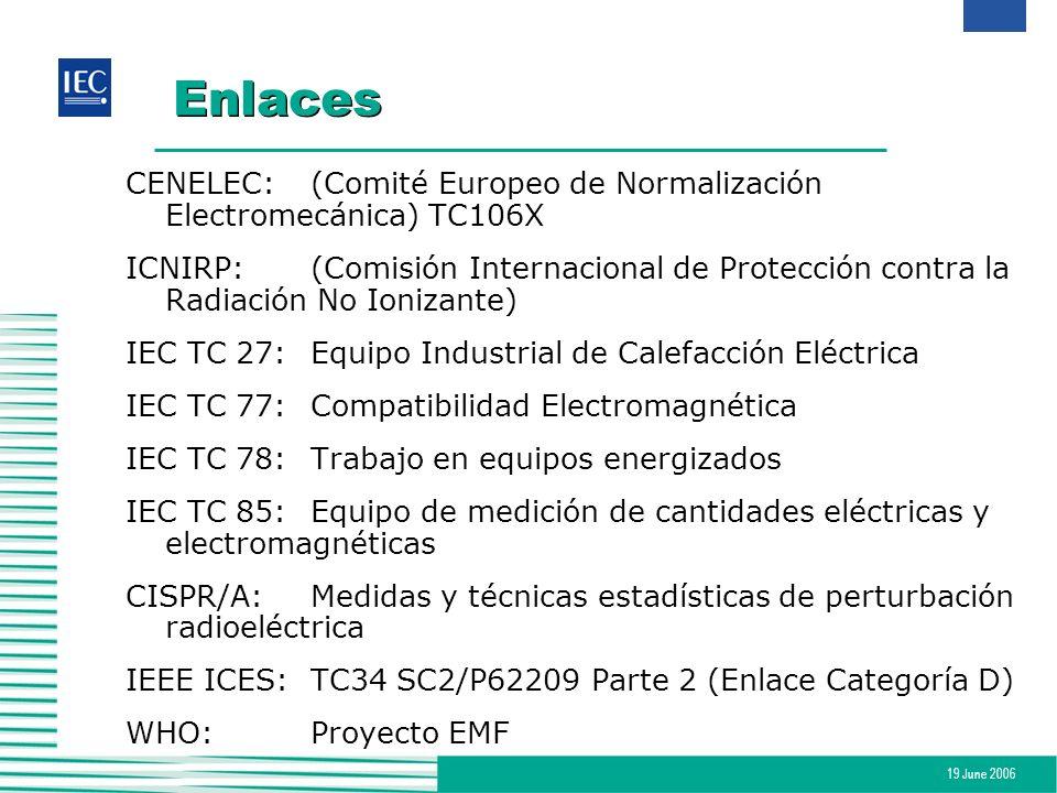 Enlaces CENELEC: (Comité Europeo de Normalización Electromecánica) TC106X.