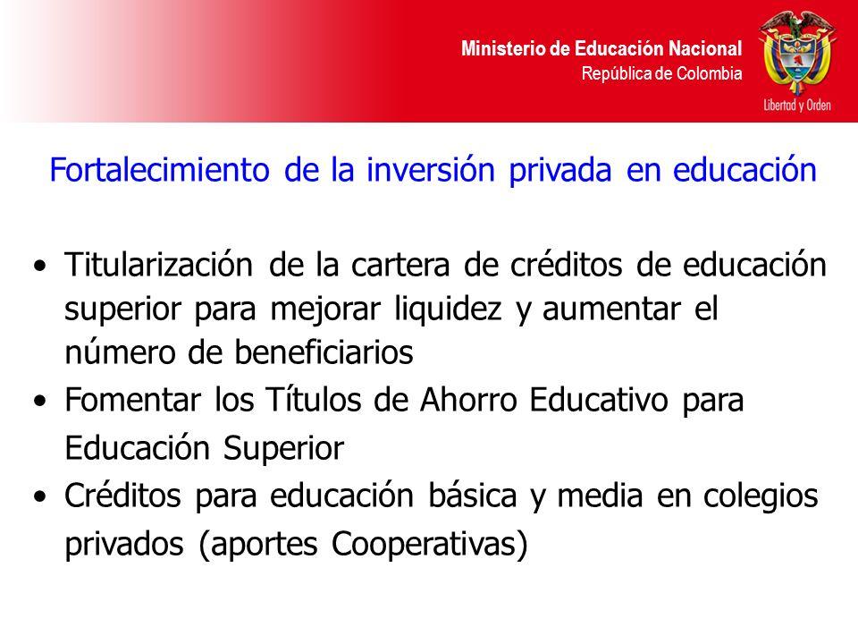 Fortalecimiento de la inversión privada en educación
