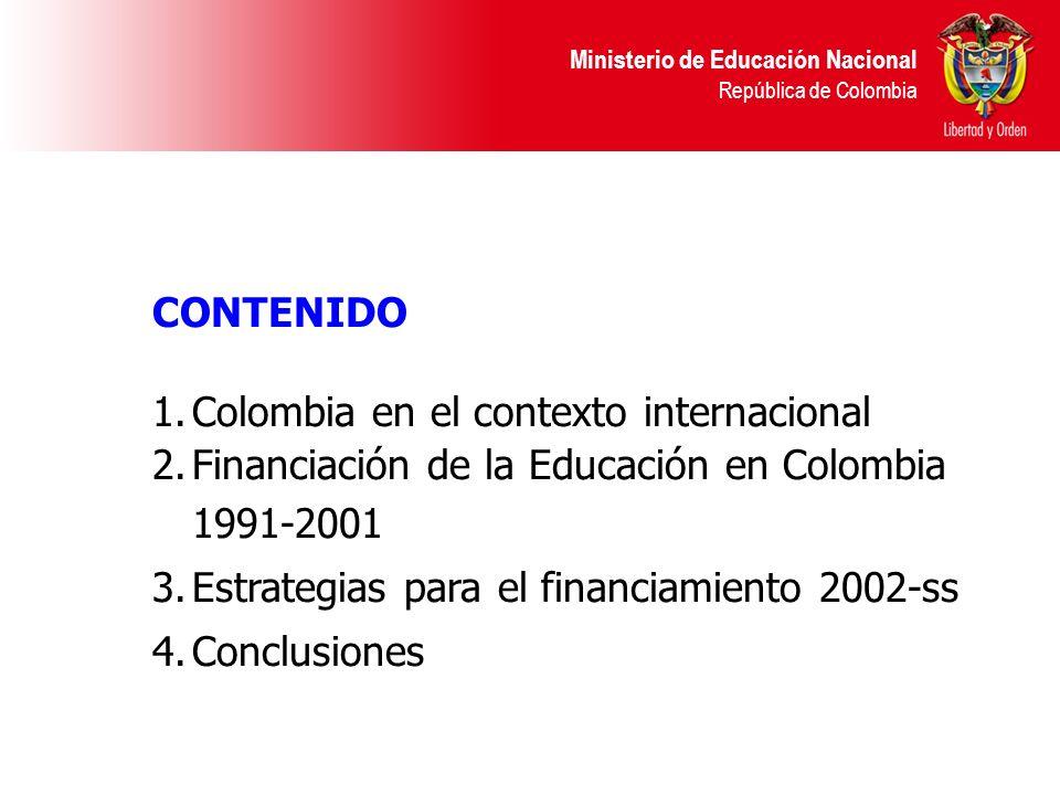 CONTENIDO Colombia en el contexto internacional. Financiación de la Educación en Colombia 1991-2001.