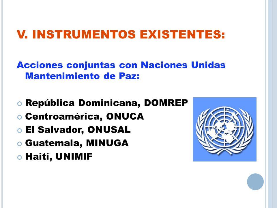 V. INSTRUMENTOS EXISTENTES: