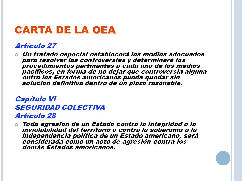 CARTA DE LA OEA Artículo 27 Capítulo VI SEGURIDAD COLECTIVA
