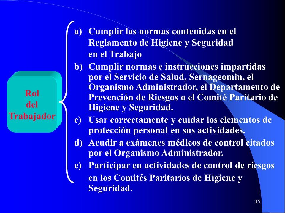 Cumplir las normas contenidas en el Reglamento de Higiene y Seguridad