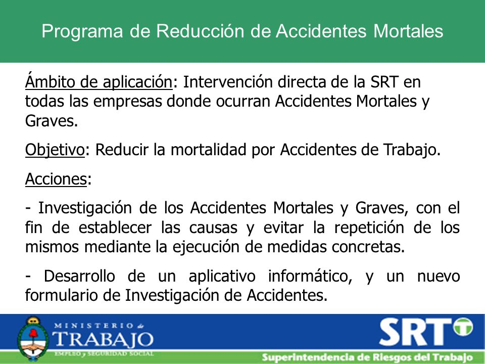 Programa de Reducción de Accidentes Mortales
