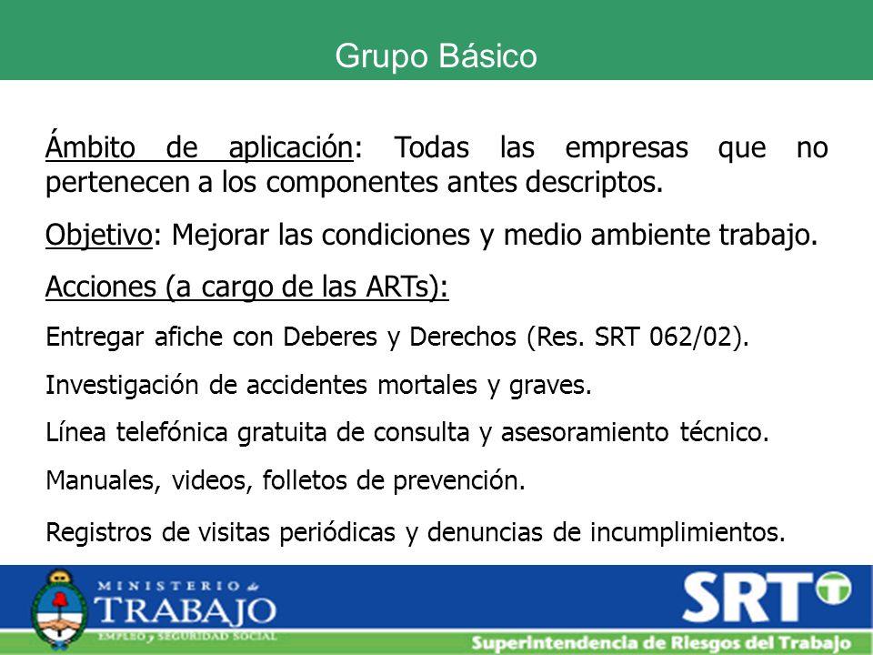 Grupo BásicoÁmbito de aplicación: Todas las empresas que no pertenecen a los componentes antes descriptos.