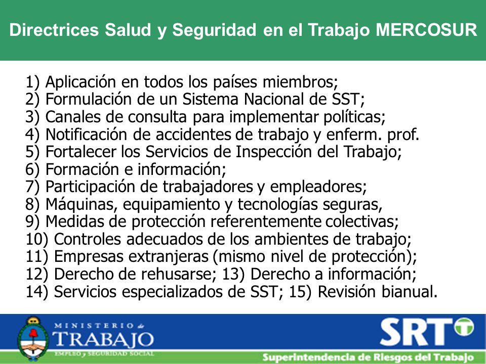 Directrices Salud y Seguridad en el Trabajo MERCOSUR