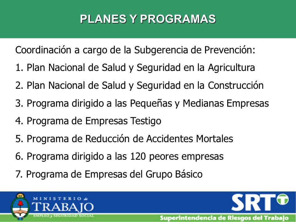 PLANES Y PROGRAMASCoordinación a cargo de la Subgerencia de Prevención: 1. Plan Nacional de Salud y Seguridad en la Agricultura.