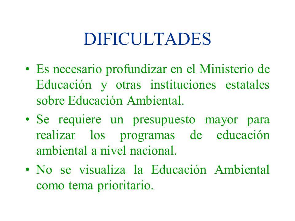 DIFICULTADESEs necesario profundizar en el Ministerio de Educación y otras instituciones estatales sobre Educación Ambiental.