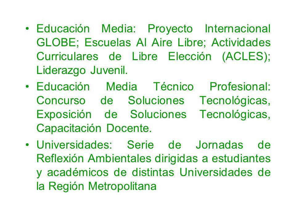 Educación Media: Proyecto Internacional GLOBE; Escuelas Al Aire Libre; Actividades Curriculares de Libre Elección (ACLES); Liderazgo Juvenil.