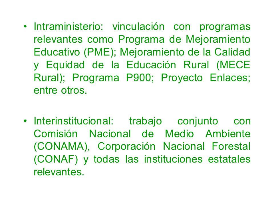 Intraministerio: vinculación con programas relevantes como Programa de Mejoramiento Educativo (PME); Mejoramiento de la Calidad y Equidad de la Educación Rural (MECE Rural); Programa P900; Proyecto Enlaces; entre otros.