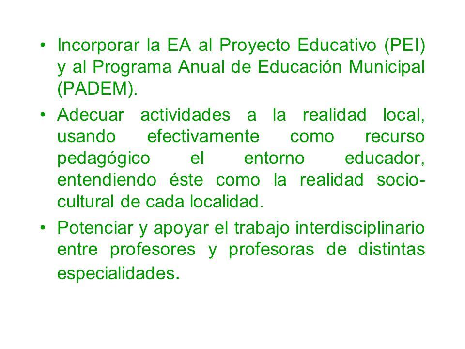 Incorporar la EA al Proyecto Educativo (PEI) y al Programa Anual de Educación Municipal (PADEM).