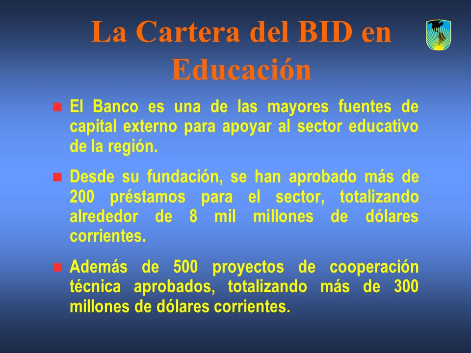 La Cartera del BID en Educación