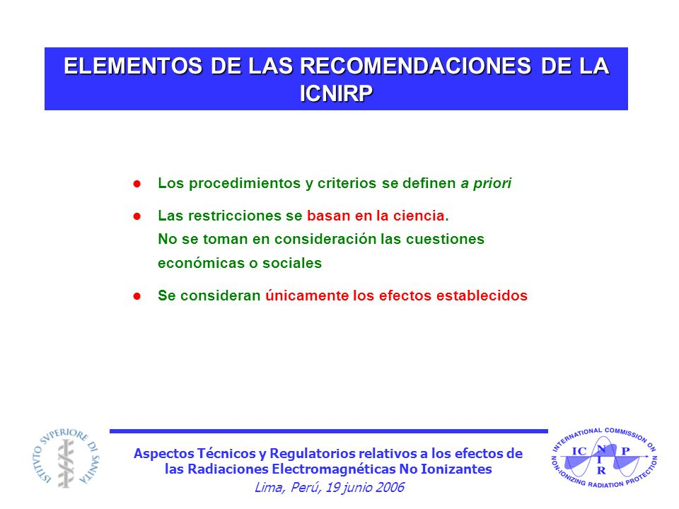ELEMENTOS DE LAS RECOMENDACIONES DE LA ICNIRP