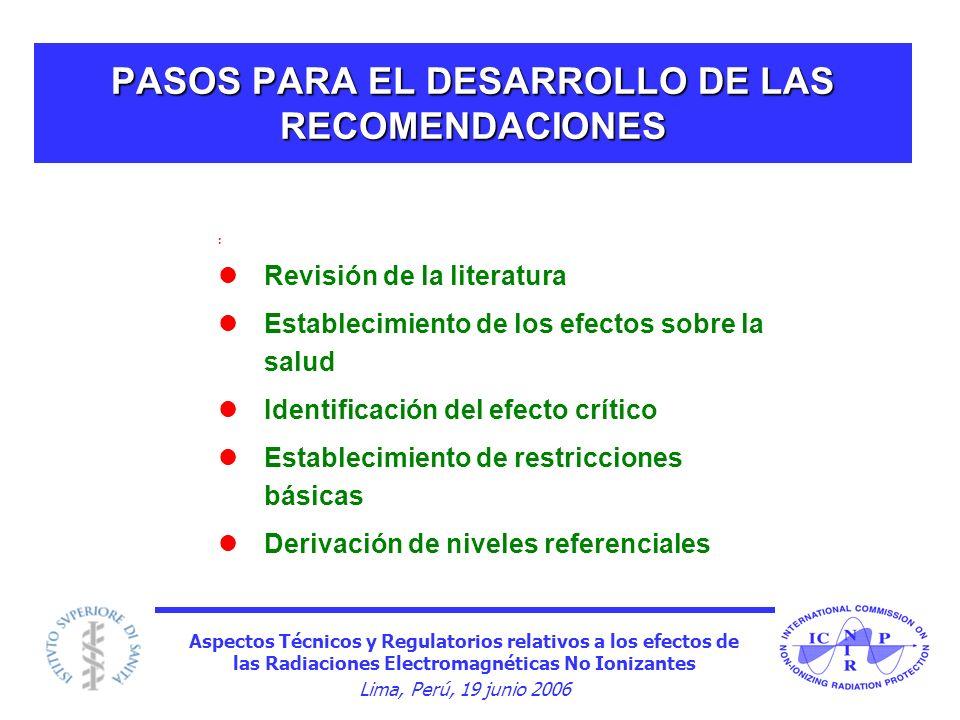 PASOS PARA EL DESARROLLO DE LAS RECOMENDACIONES