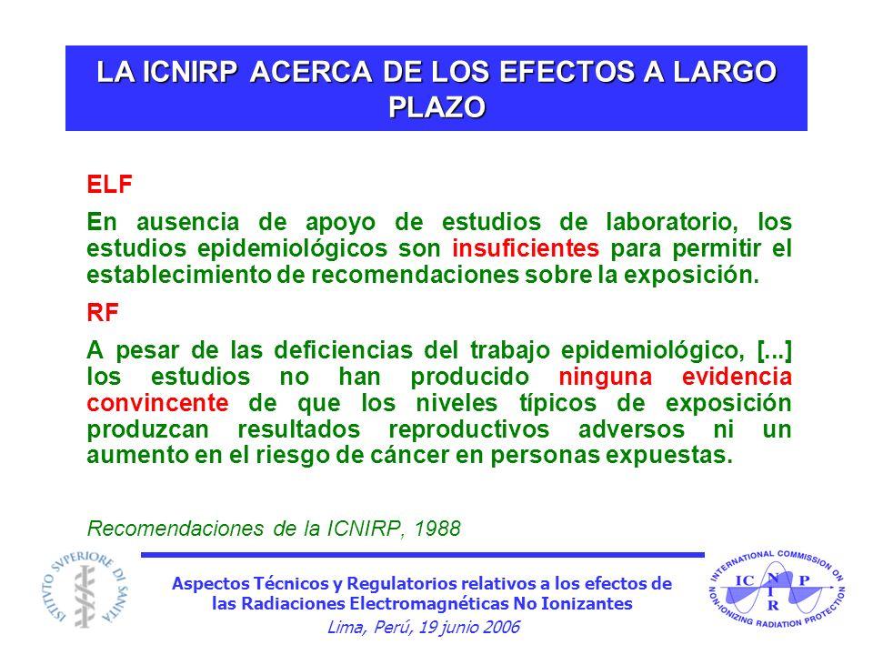 LA ICNIRP ACERCA DE LOS EFECTOS A LARGO PLAZO