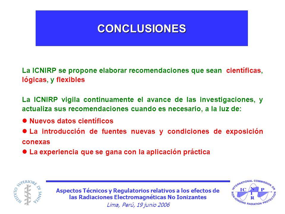 CONCLUSIONES La ICNIRP se propone elaborar recomendaciones que sean científicas, lógicas, y flexibles.