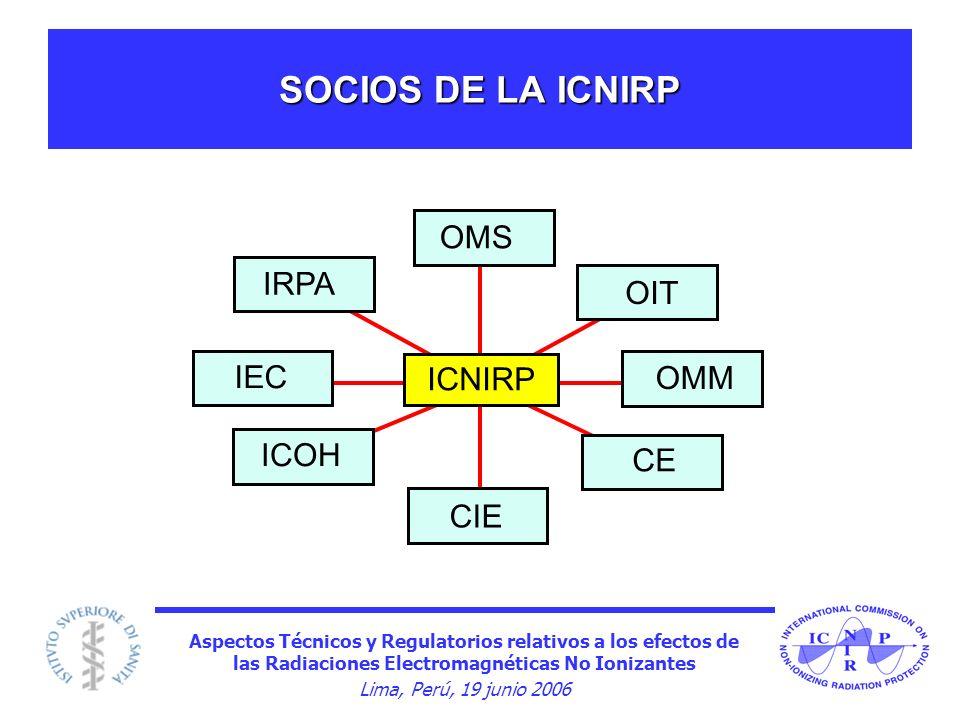 SOCIOS DE LA ICNIRP OMS OIT OMM CIE ICOH IEC IRPA CE ICNIRP