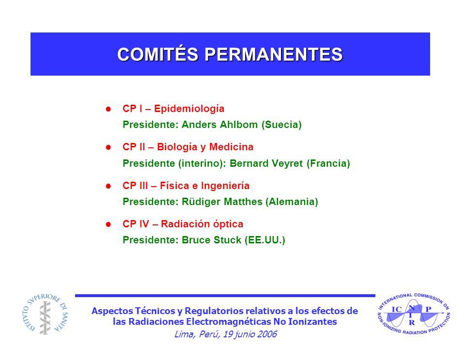 COMITÉS PERMANENTES CP I – Epidemiología Presidente: Anders Ahlbom (Suecia)