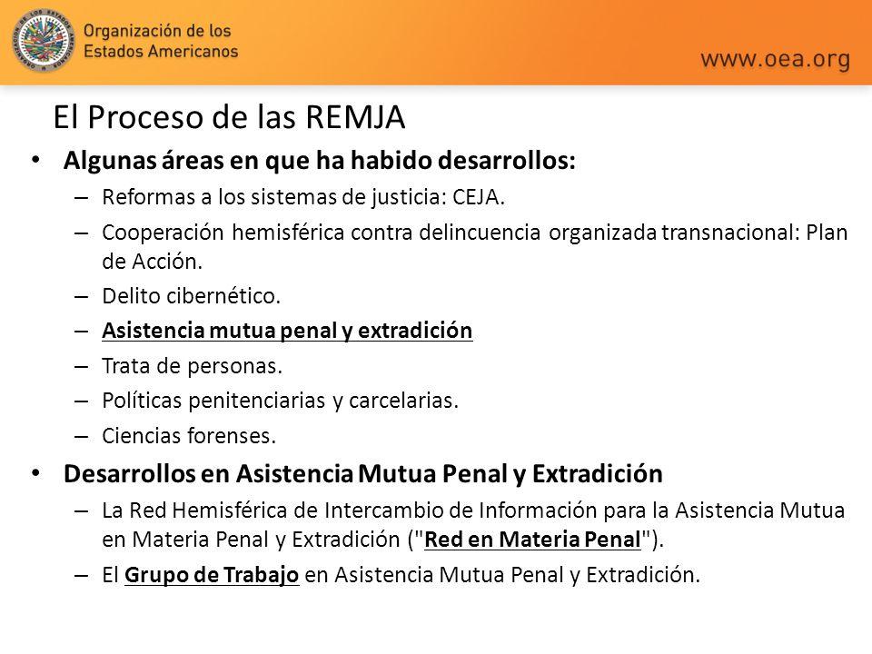 El Proceso de las REMJA Algunas áreas en que ha habido desarrollos: