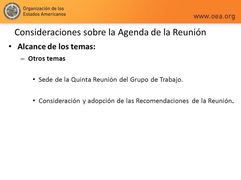 Consideraciones sobre la Agenda de la Reunión