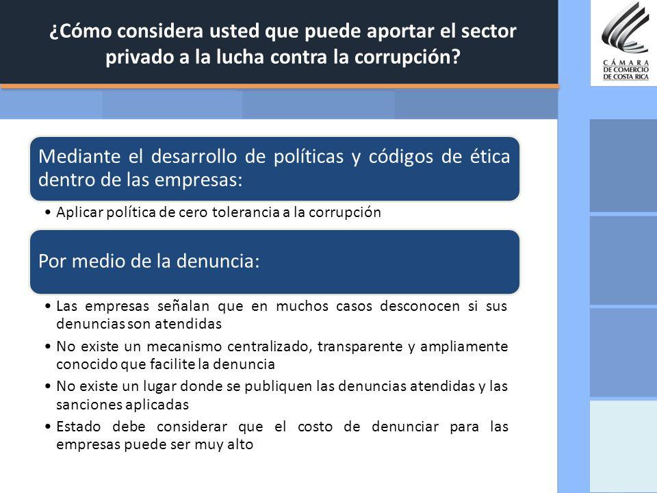 ¿Cómo considera usted que puede aportar el sector privado a la lucha contra la corrupción