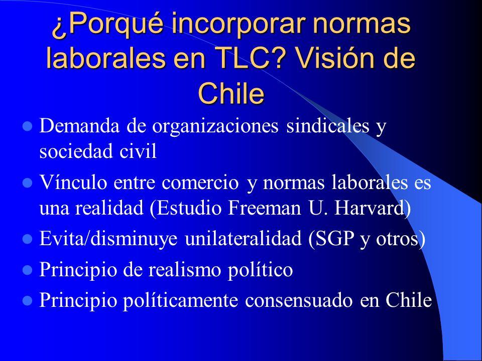 ¿Porqué incorporar normas laborales en TLC Visión de Chile