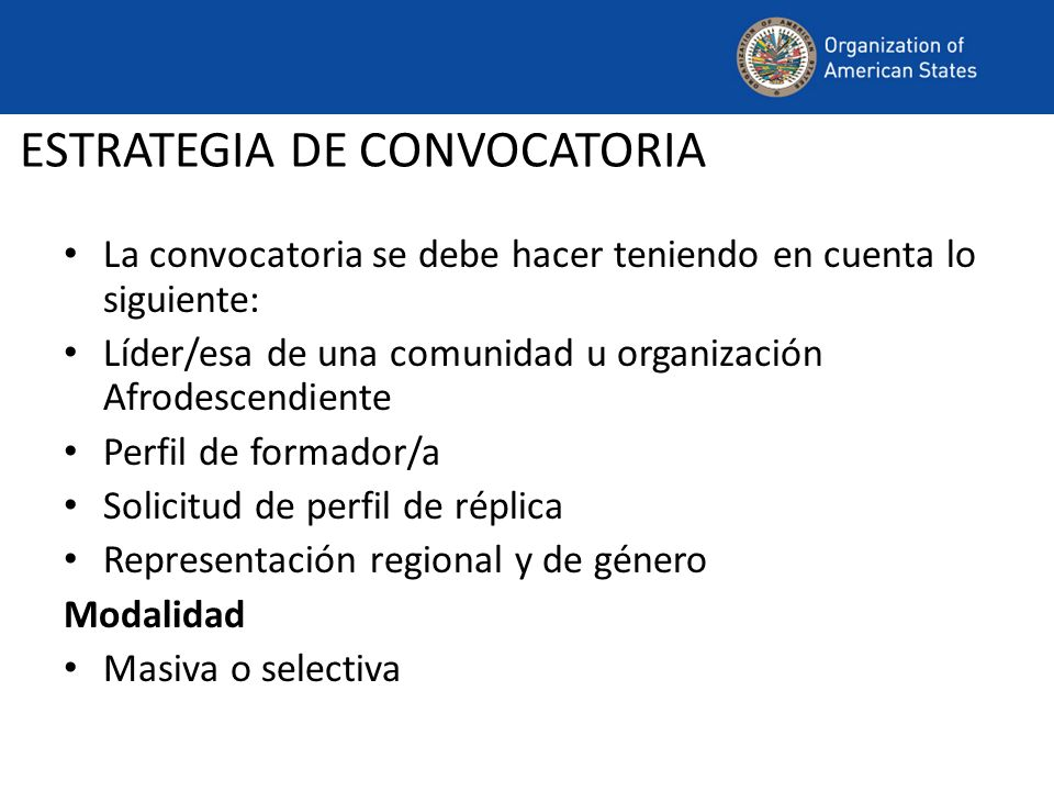 ESTRATEGIA DE CONVOCATORIA