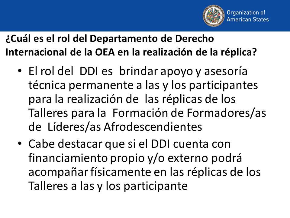 ¿Cuál es el rol del Departamento de Derecho Internacional de la OEA en la realización de la réplica