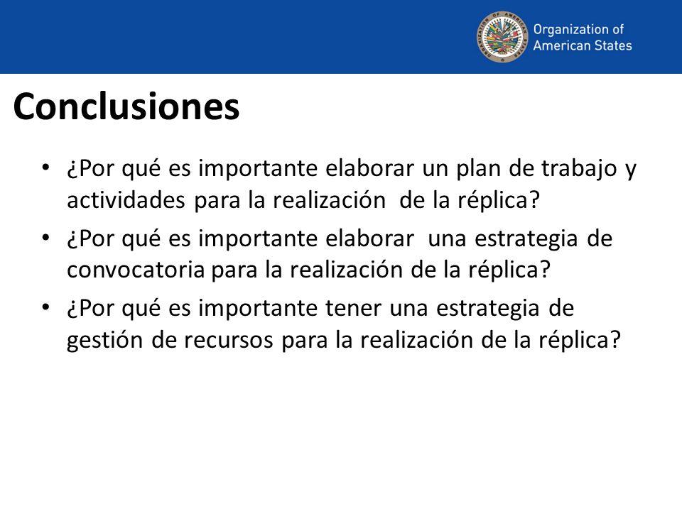 Conclusiones ¿Por qué es importante elaborar un plan de trabajo y actividades para la realización de la réplica