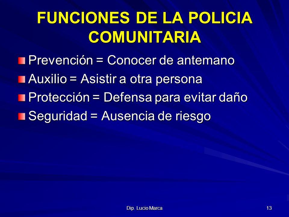 FUNCIONES DE LA POLICIA COMUNITARIA