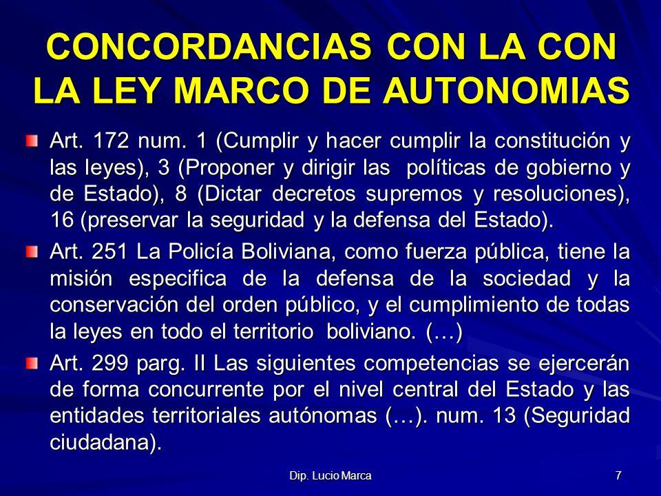 CONCORDANCIAS CON LA CON LA LEY MARCO DE AUTONOMIAS