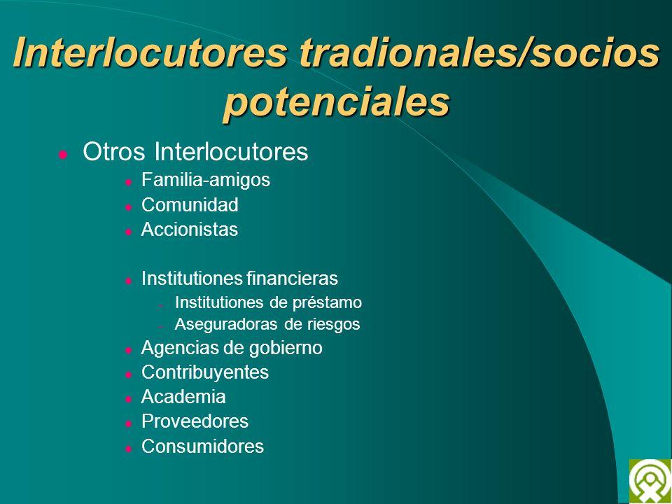 Interlocutores tradionales/socios potenciales