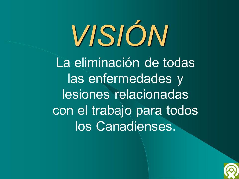 VISIÓN La eliminación de todas las enfermedades y lesiones relacionadas con el trabajo para todos los Canadienses.