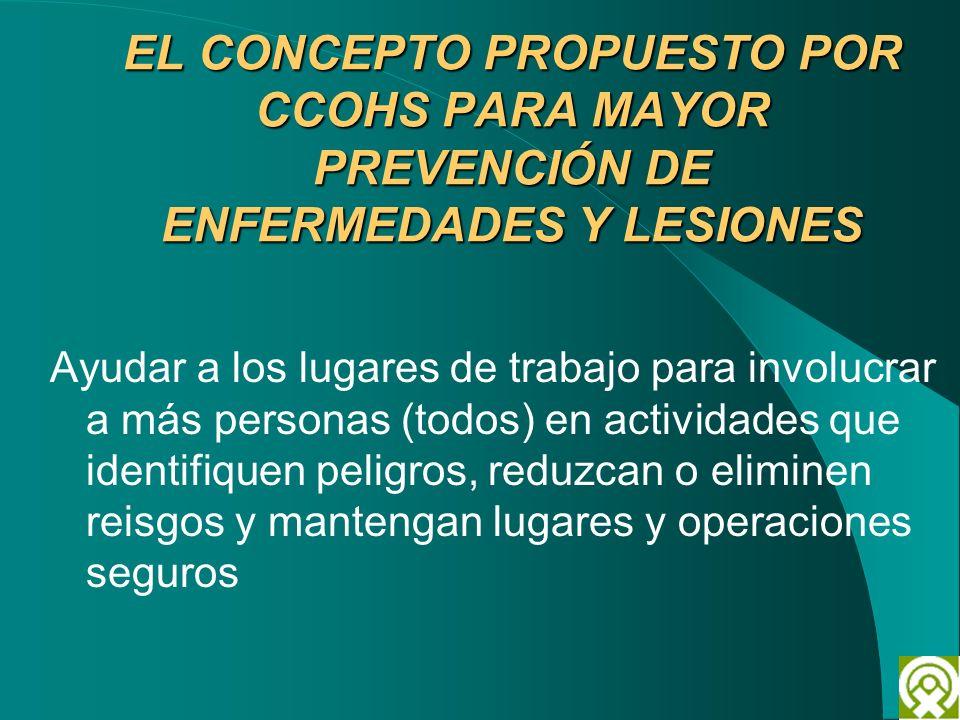EL CONCEPTO PROPUESTO POR CCOHS PARA MAYOR PREVENCIÓN DE ENFERMEDADES Y LESIONES