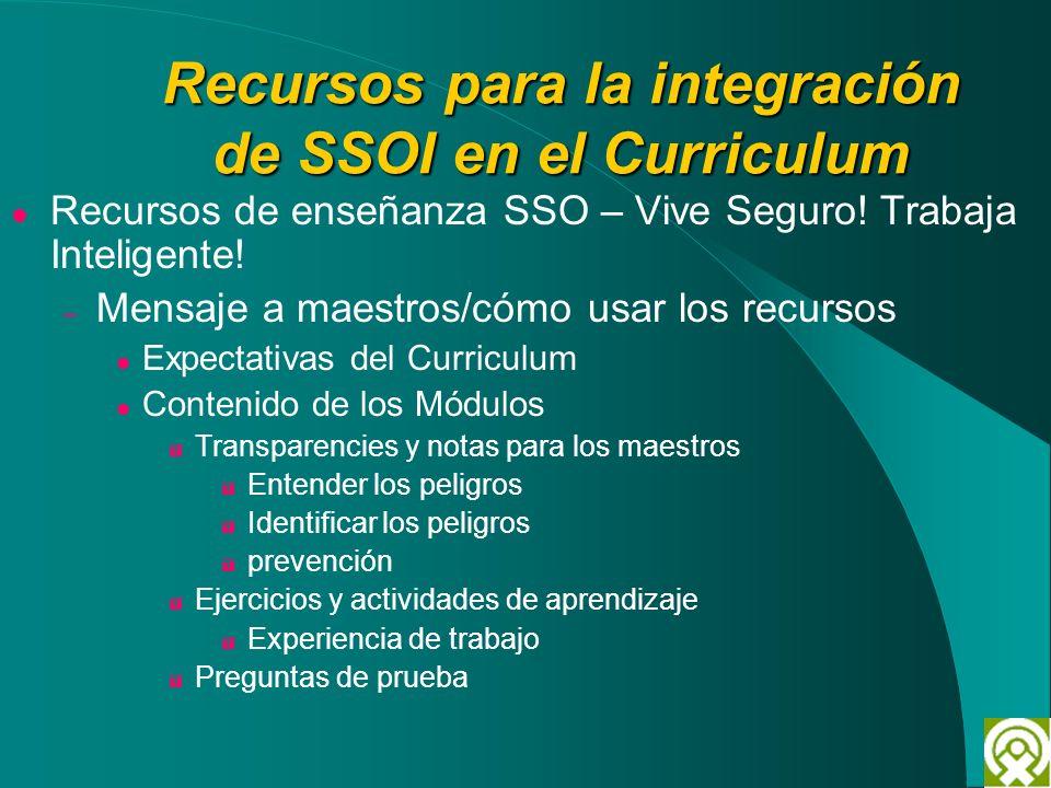Recursos para la integración de SSOI en el Curriculum