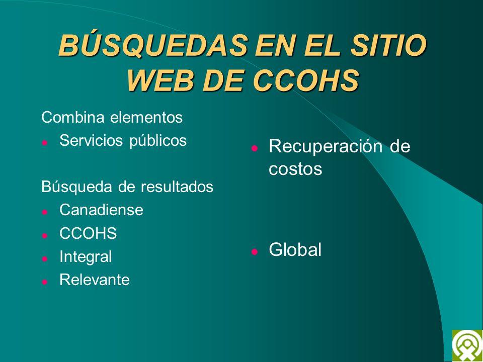 BÚSQUEDAS EN EL SITIO WEB DE CCOHS