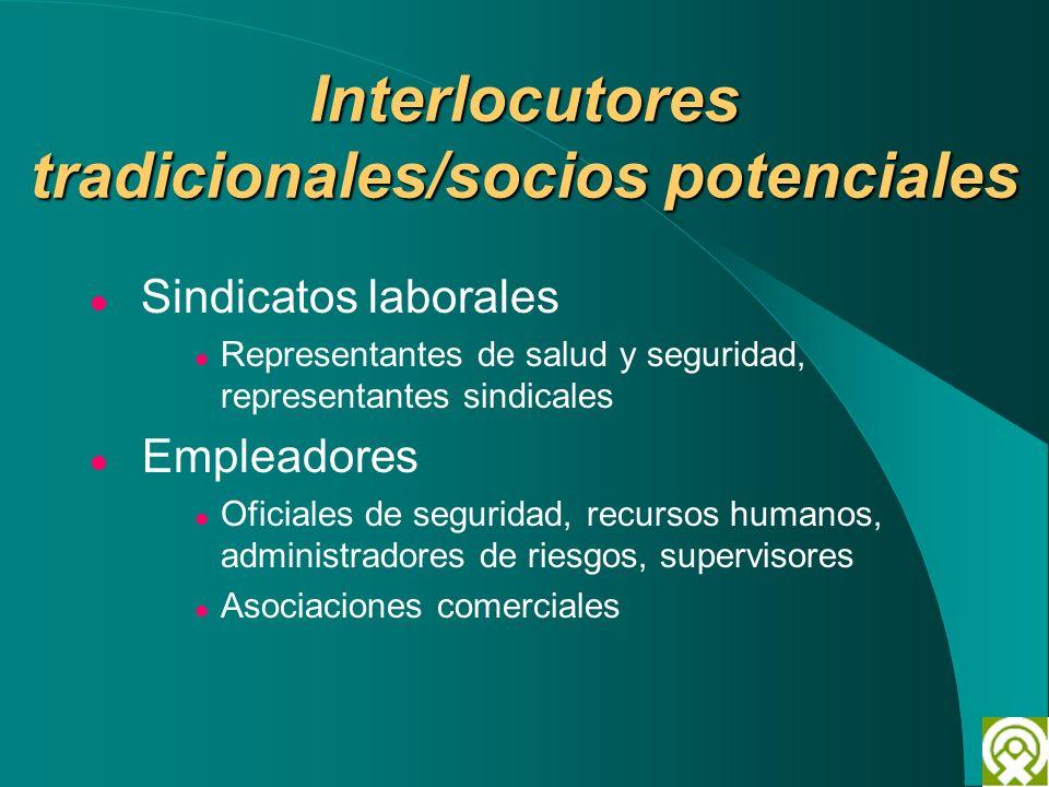 Interlocutores tradicionales/socios potenciales