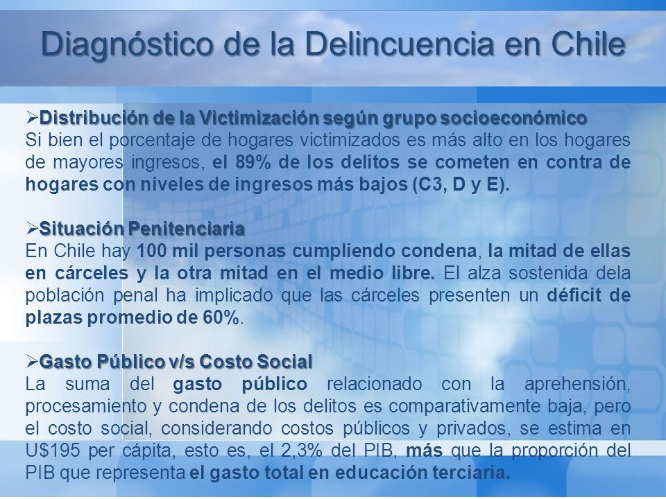 Diagnóstico de la Delincuencia en Chile