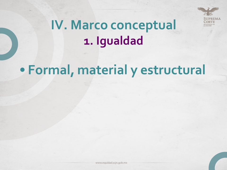 IV. Marco conceptual 1. Igualdad
